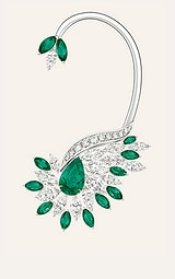 white gold diamond ear cuff set with emeralds