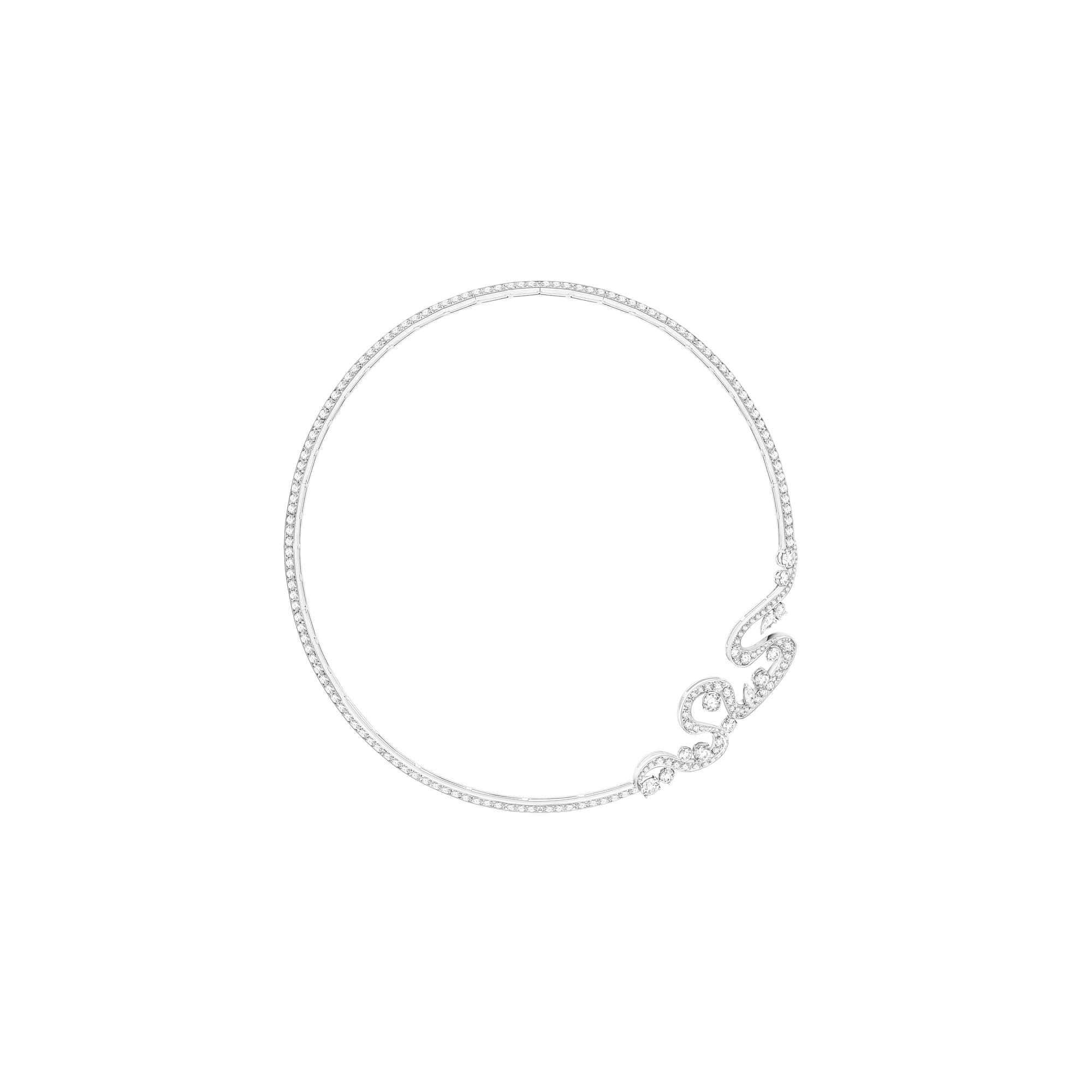 high jewellery white gold diamond necklace