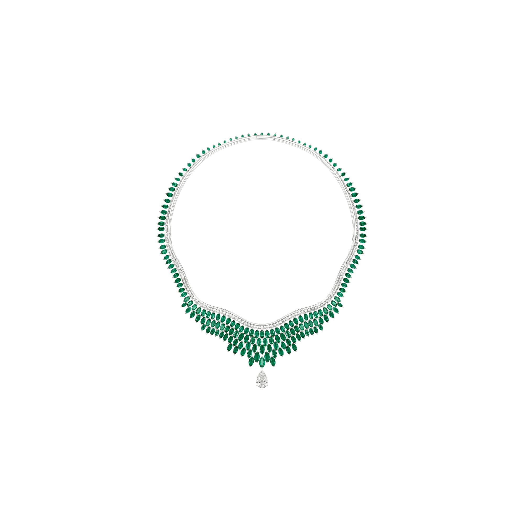 high jewellery diamond necklace set with emeralds