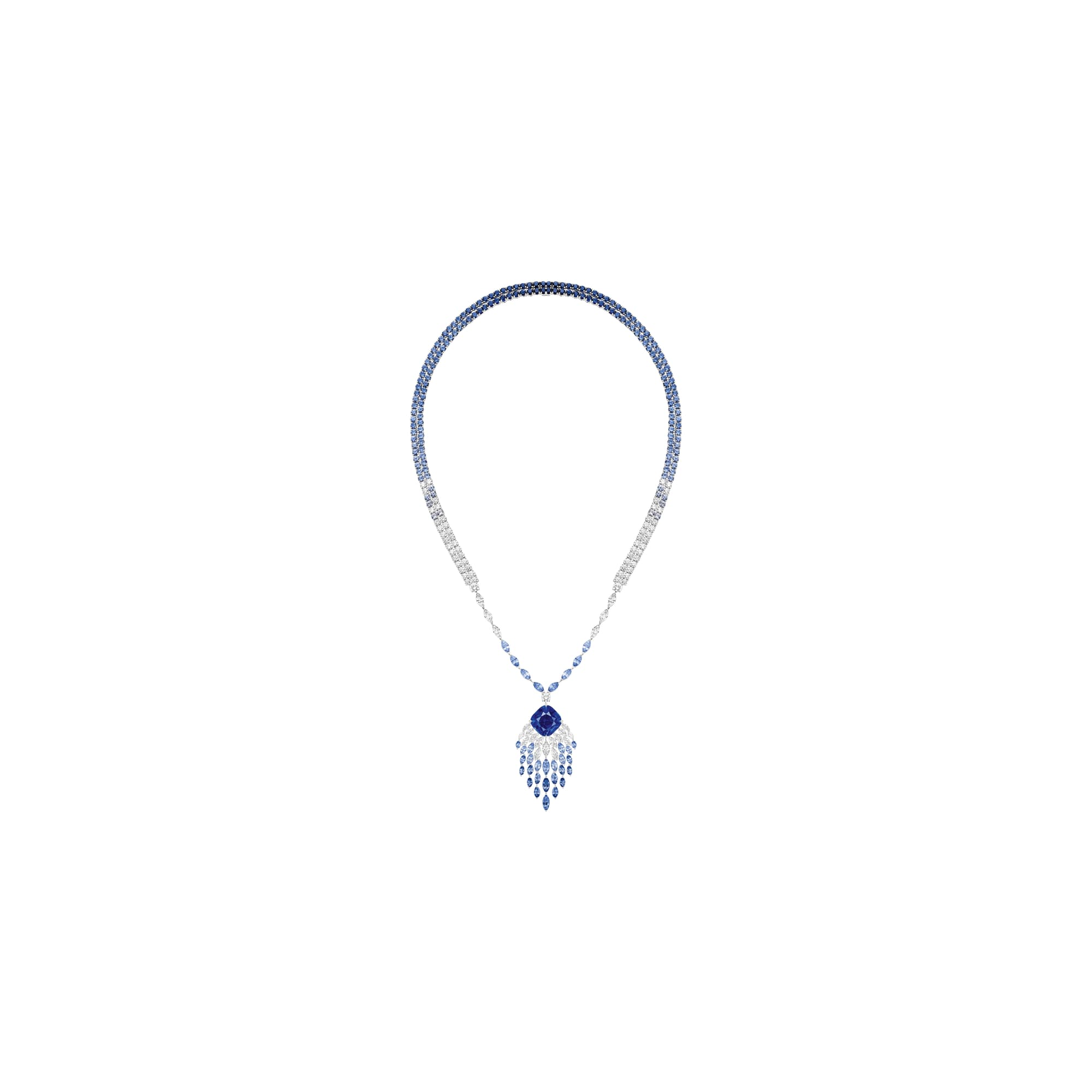 high jewellery diamond necklace set with sapphire
