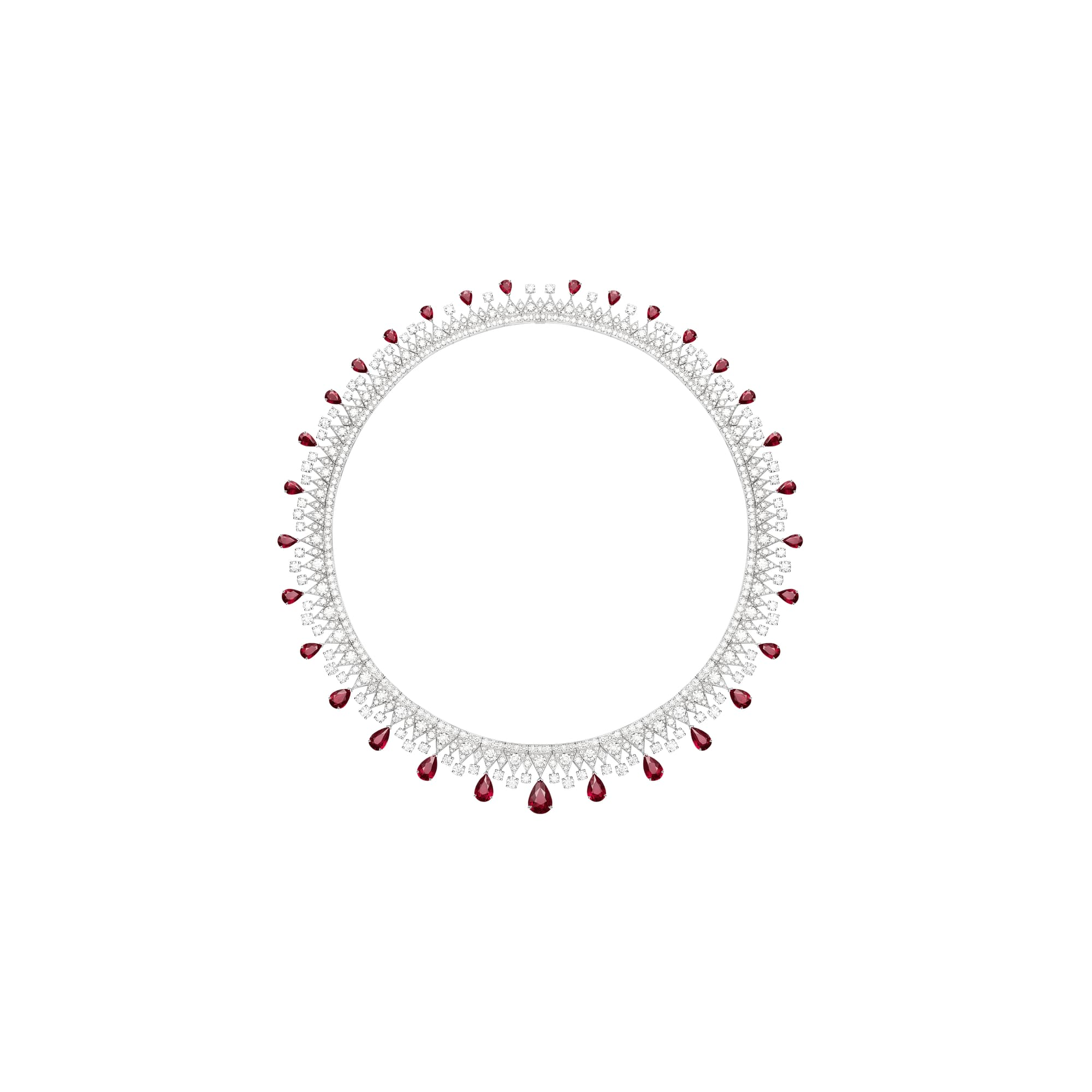 high jewellery diamond necklace set with rubies
