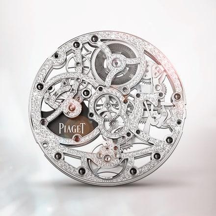 伯爵製1200D白金鑲鑽超薄鏤空機芯