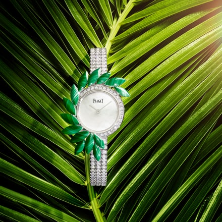 high jewellery diamond watch with malachites
