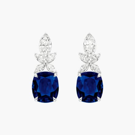 high jewellery earrings with diamonds and sapphires