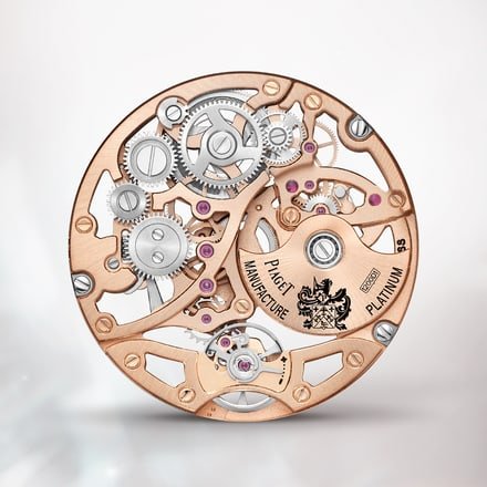 Piaget 1200D1 rose gold ultra-thin skeleton watch movement