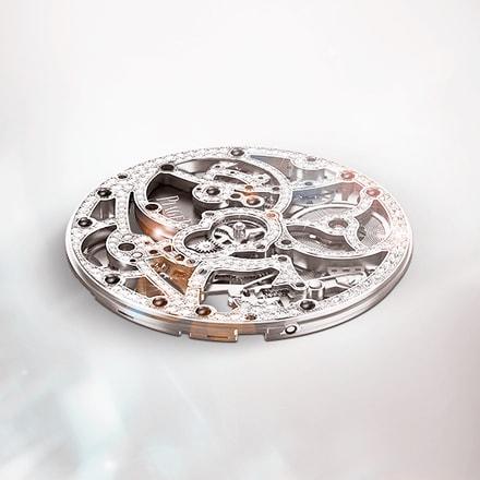伯爵製1200D白金鏤空腕錶機芯