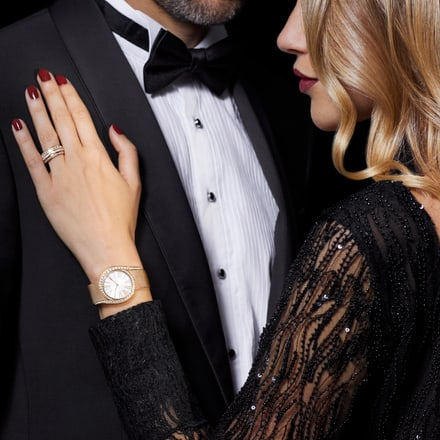 Luxury watch and rose gold diamond ring