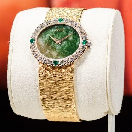 玫瑰金鑽石腕錶,鑲飾祖母綠寶石