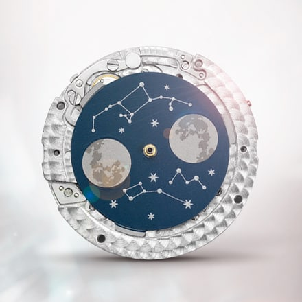Movimiento relojero Piaget 584P negro con fase lunar