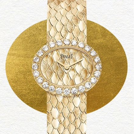 Rose gold diamond jewellery watch with scale decoration