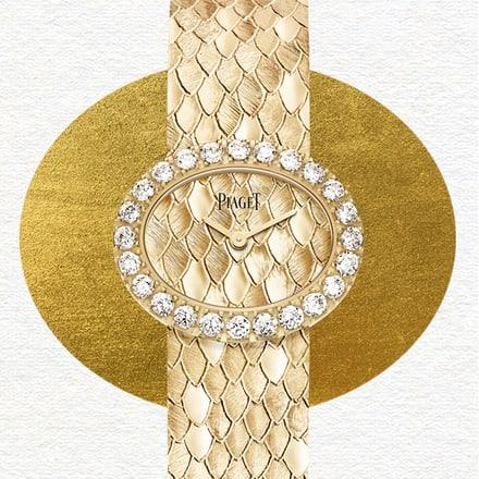 """Haute-Joaillerie-Uhr aus Roségold mit Diamanten und """"Schuppen""""-Motiv"""