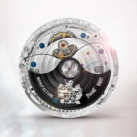 Mouvement mécanique automatique extra-plat Piaget 855P Noir à quantième perpétuel