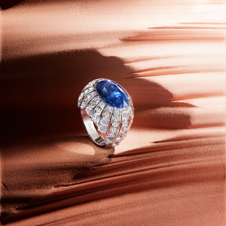 piaget white gold ring set with sapphire