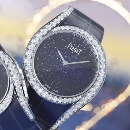 Limelight Gala white gold diamond watch with an aventurine glass dial
