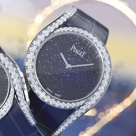 Limelight Gala Weißgolduhr mit Diamanten und Aventurinzifferblatt
