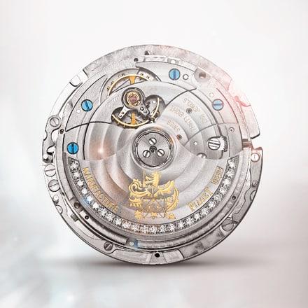 피아제 856P 젬스톤 세팅 울트라-씬 기계식 오토매틱 퍼페추얼 캘린더 무브먼트