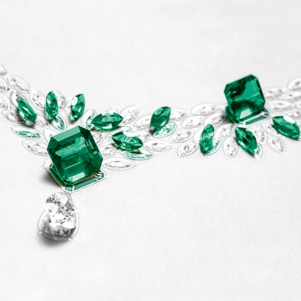 High Jewellery white gold emerald earrings