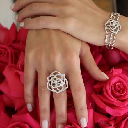 white gold diamond ring and luxury bracelet