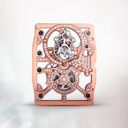 Movimiento mecánico tourbillon esqueleto ultraplano Piaget 600D rosa de cuerda manual