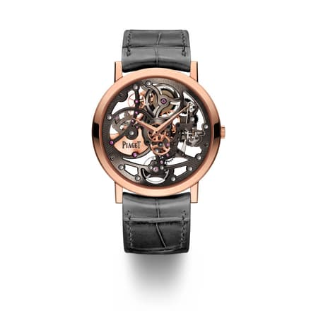 rose gold skeletonized watch for men