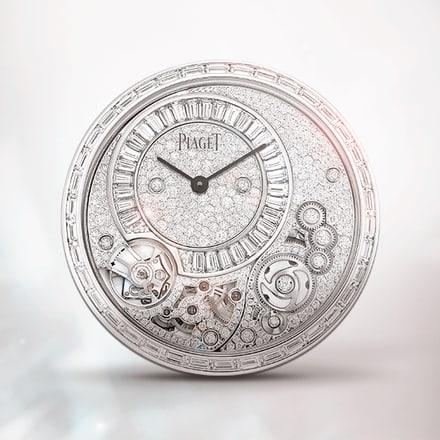 Ультратонкий механизм Piaget 900D из белого золота с ручным заводом, украшенный драгоценными камнями