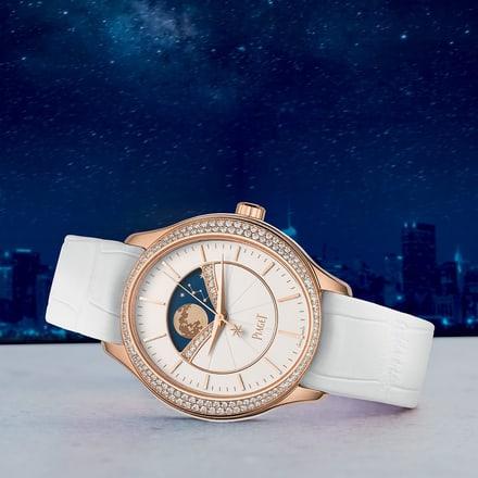 女士月相金質鑽石腕錶