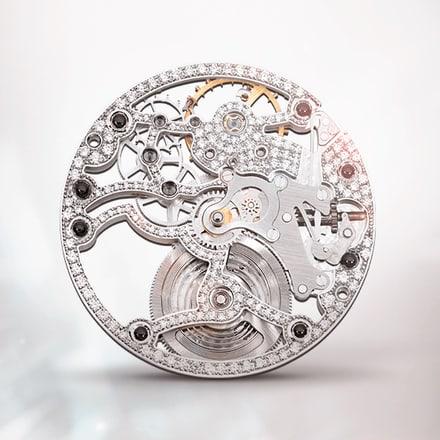 Ultraflaches skelettiertes und diamantbesetztes Uhrwerk Piaget 838D