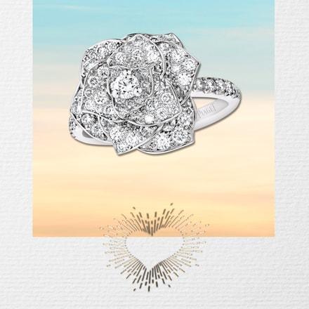 White gold diamond ring Valentine's day gift