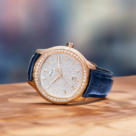Rose gold and diamond watch for men