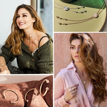 Olivia Palermo and Shiva Safai wearing gold diamond bangle bracelets and luxury pendants