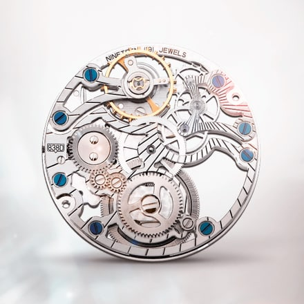 Ultraflaches skelettiertes und diamantbesetztes mechanisches Uhrwerk Piaget 838D mit Handaufzug