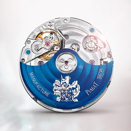 Movimiento cronógrafo mecánico automático Piaget 1160P azul