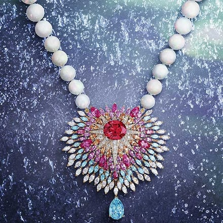 High jewellery rose gold diamond necklace set with sapphires and opal