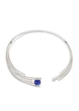 Collier Piaget en or blanc, saphir et diamants