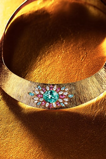 G37M9000 Sunny Side of Life rose gold necklace with Paraiba tourmaline