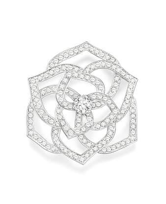 Rosenförmige Ohrringe aus Gold und Diamanten