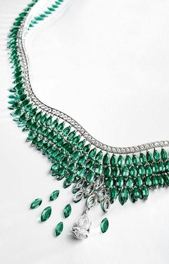 diamantcollier mit smaragden