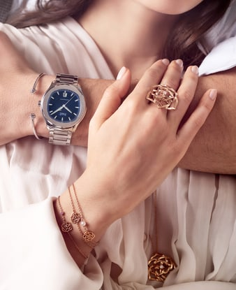 Rose gold jewelry for women and watch for men