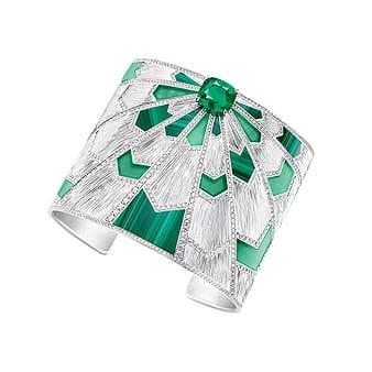 Manchette Piaget en or blanc, émeraude et diamants