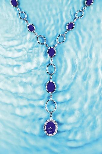 Montre sautoir lapis lazuli et diamant Sunny Side of Life G0A41214