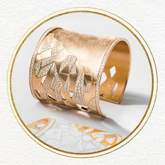 Damen-Manschettenarmreif aus Roségold mit Diamanten