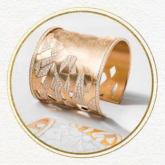 Rose gold diamond cuff bracelet for women