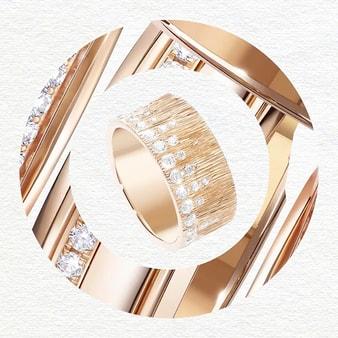 Armband aus Roségold mit Diamanten und Palast-Dekor