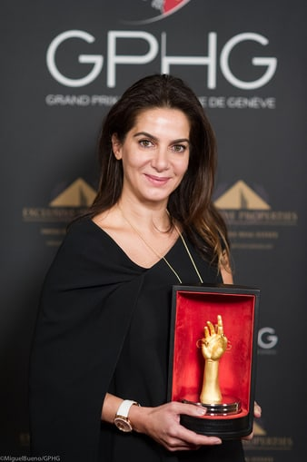 """Piaget CEO Chabi Nouri receiving the """"Aiguille d'or"""" watch prize"""