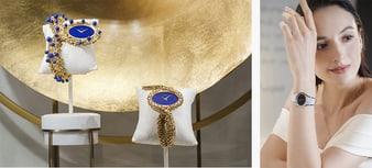 鑲飾青金石的女士金質鑽石腕錶和Limelight白金腕錶。