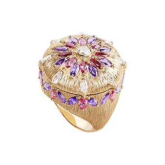 Luxury rose gold diamond ring with red spinels