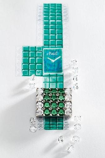 luxusuhr-set mit diamanten und smaragden