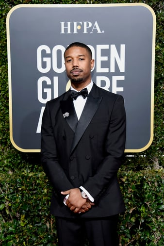 Michael B. Jordan portant une montre Piaget Polo en or blanc et diamants