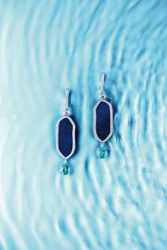 G38M9000 Sunny Side of Life lapis lazuli and diamond earrings