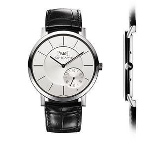 luxury ultra-thin white gold watch